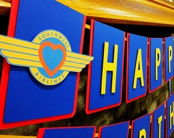 Southwest Airlines Happy Birthday Banner - Pilot - Airplane Banner- Transportation Party - Congratulations Graduate
