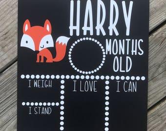 Milestone Chalkboard, Baby Monthly Milestone Chalkboard, Monthly Milestone, Baby Picture, Woodland Fox Baby Board, Baby Stats, Monthly Pictu