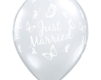 "11"" Stunning ""Just Married"" with Butterflies all around Latex Balloon  - Diamond Clear - Weddings,"