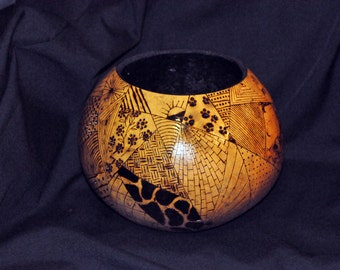 Handcrafted Gourd Bowl with Crazy Quilt Design