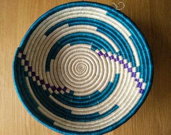 Woven Basket // Rwandan Basket // African Basket // Fruit Bowl // Turquoise + Purple