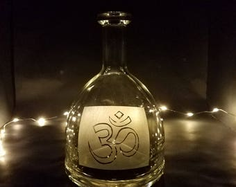 Hand Etched Liquor Bottle, Om, Etched Glass, Customize, Repurposed Glass Art, Customizable