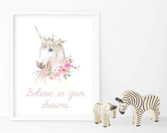 Unicorn - Believe in your dreams - Print