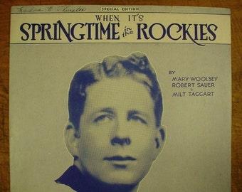 Sheet Music Springtime In The Rockies Music Sheet Antique Vintage 1920s