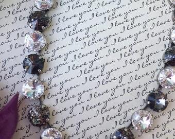 Black Tie Affair: 12mm crystal necklace in antique silver/Swarovski, shellyanns crystals, free shipping!
