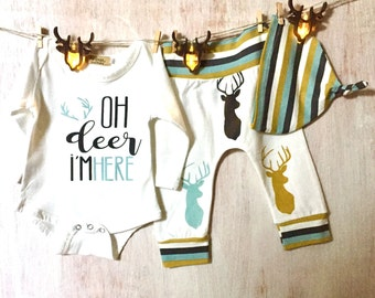 "Oh deer i""m here, 3 piece stag design outfit.."