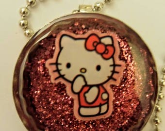 Hello Kitty Bottle Cap Resin Necklace