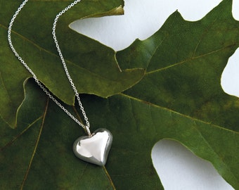 Sterling Silver Heart Necklace , Heart Pendant, Heart Necklace