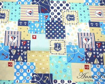 Japanese Fabric | Japanese Cotton Oxford Fabric | COSMO TEXTILE | Anchor Patchwork Style Fabric - Blue