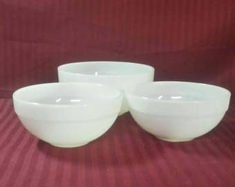 Fire-King mixing bowls.  Set of 3. Milk glass