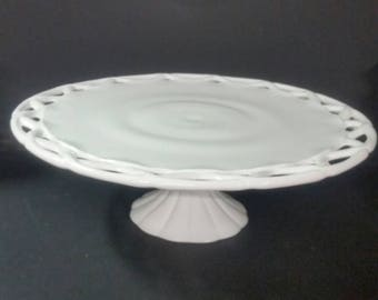 Vintage milk glass pedestal cake stand. Colony lace