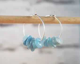 Aquamarine Hoop Earrings, Gemstone Hoop Earrings, Beaded Hoop Earrings, Aquamarine Earrings, Beaded Gemstone Earrings,  March Birthstone