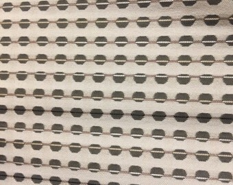 CARNEGIE Upholstery Fabric - Point Color #20 - Linear Dots and Lines - Off White and Grey - By The Yard