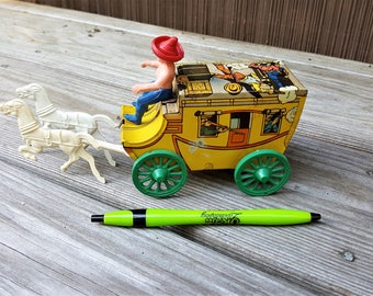 Tin Toy Bank Stagecoach with Driver and Horses Child's Toy Bank Vintage Toy Stagecoach Colorful Toy Child's Bank Wild West Gun Fight