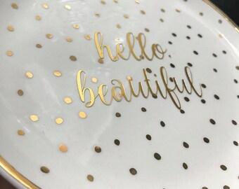 Hello Beautiful Gold Trinket Tray