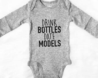 baby onesie, Drink Bottles Date Models Onesie, funny onesie, boy onesie
