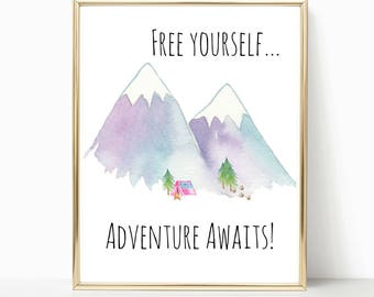 mountain, wanderlust, motivational quote, adventure awaits, travelers, going away gift, travel girl, free spirit, boho, bohemian print
