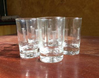 Vintage Crystal Etched Juice Glasses Set Of 5