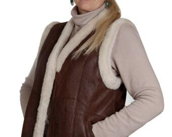 sheepskin vest; women jacket; winter vest; ladies sheepskin jacket; warm jacket