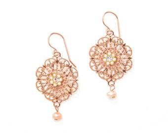 Rose Gold Dangle Bridal Earrings, Wedding Dangle Earrings, Bridal Shower Gift, Romantic Bridal Earrings, Bridesmaid Dangle Earrings Gift