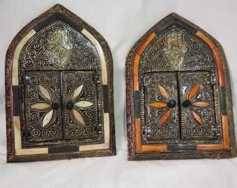 set 2 Moroccan mirror/authentic mirror/silver and brass mirror