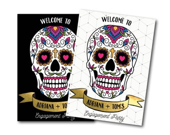 Sugar skull welcome sign, engagement welcome sign, welcome sign, engagement decor, engagement, sugar skull, sign, day of the dead (Adriana)