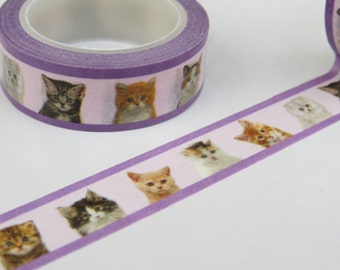 Cats & Kittens Washi Masking Tape With A Purple Border