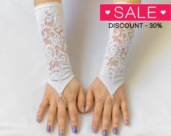 Satin lace gloves, White Fingerless Wedding Gloves, Bridal Wedding Gloves 08