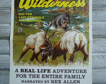 Vanishing Wilderness 1974 movie poster - Man cave decor - Elk poster - Vintage Wild Life - Vintage movie poster - Lithograph movie poster