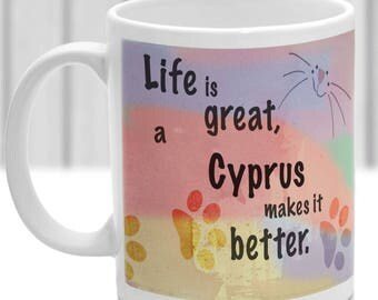 Cyprus cat mug, Cyprus cat gift, ideal present for cat lover