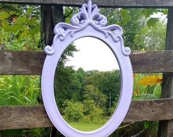 Lavendar Shabby Chic Mirror Ornate wall mirror Purple Nursery Mirror Oval Decorative Mirror Princess Mirror
