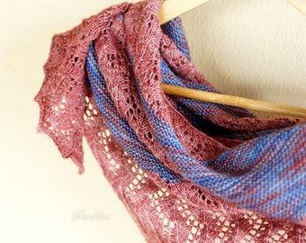 """Knitted blue and burgundy shawl """" Burgundy"""" - oversized lace shawl - extra fine merino wool shawl"""