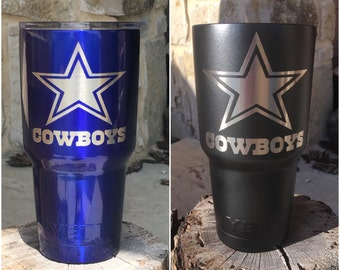 Dallas Cowboys Star Etch - NEW Authentic YETI Rambler or Ozark Trails Custom Powder Coat Dipped