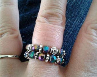 Stackable iris rings. Stretchy rings.