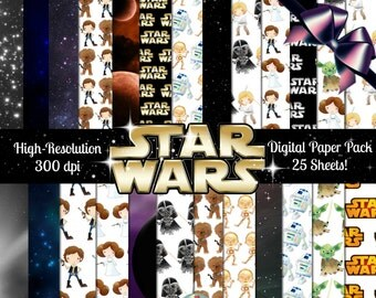 STAR WARS Digital Paper Pack-25 Sheets, Star Wars Printables, Digital Scrapbook Paper, Star Wars Printable, Star Wars Printable Paper