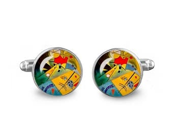 Kandinsky Cuff Links Wassily Kandinsky Cuff Links 16mm Cufflinks Gift for Men Groomsmen Geeky Cuff links Fandom Jewelry