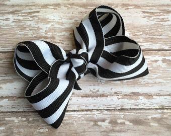 Boutique hair bows, hair bows, black and white hair bow, large hair bows, black and white stripes hair bow