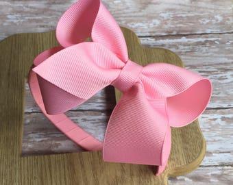 Plastic headband with boutique hair bow, easter hair bows, pink headbands, pink pastic headbands, back to school headbands, summer haeadband