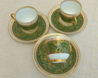 3 French Limoges porcelain coffee cups, demi tasse by Jean Pouyat for Higgins & Seiter, New York.