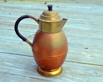 Vintage Holland Copper Brass Coffee Tea Pot
