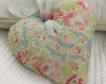Fabric Padded Heart Hanger Made In Sarah Hardaker Paisley Linen