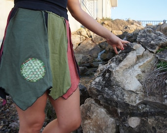 Sacred warrior of the earth upcycled organic reversible skirt