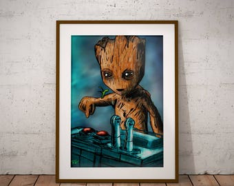 Baby Groot and the Death Button Guardians of the Galaxy Marvel Comic book Artwork Print