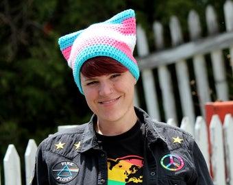 Transgender Pride Pussy Hat - Pussy Hat - Pussyhat - Transgender Pride - Trans Pride - Gay Pride - Women's March - Resist- Knit Hat - Beanie
