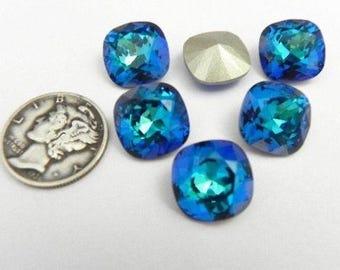 Swarovski 4470 Bermuda Blue F 12mm Cushion Cut Stone (1 piece)