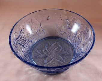 Blue Glass Serving Bowl /  8.5 inch /  KIG Indonesia / Della Robbia Fruit Pattern