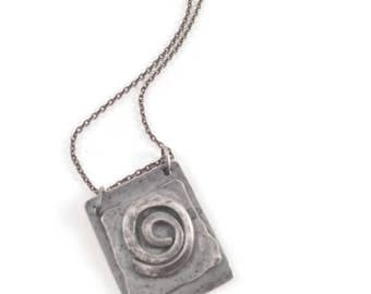 Dicentra*  Artisan Sterling Silver Necklace Rustic Oxidized Pendant