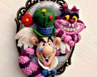 Mad Hatter,polymer clay pendant,miniatures,clay sculptures,gift for her,polymer clay,dolls.handmade pendants