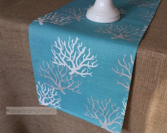 Aqua Blue Coral Reef Table Runner Coastal Nautical Home Decor Table Centerpiece Turquoise Spa Blue Decoration Linens