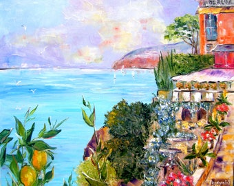 Oil painting early evening in Sorrento.